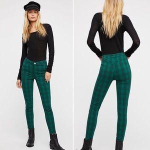 Free People Green Plaid Skinny Stretch Pants